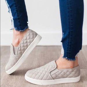 Grey Quilted Slip on sneakers